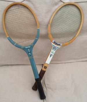 Pair of Tennis Rackets with Presses