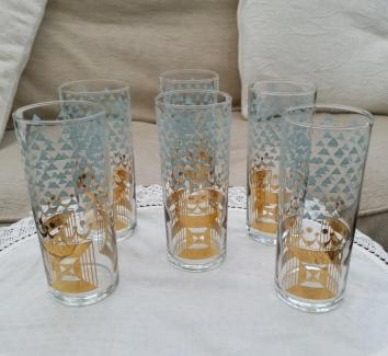 Set of 6 Gold Art Deco Patterned Tumblers