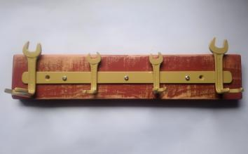 Reclaimed spanner coat rack in red and yellow