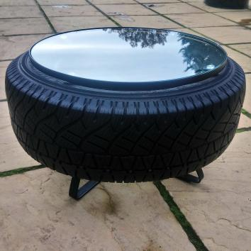 Reclaimed tyre coffee table