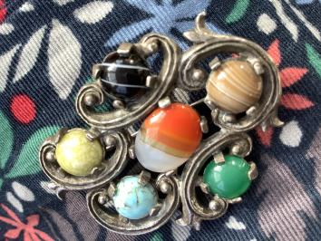 Orange, Toffee, Blue and Green Jewelled Brooch