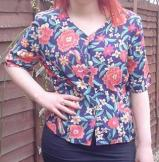 80s tropical flower print blouse