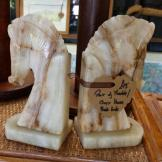 Lovely Pair of Marble/ Onyx Bookends