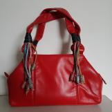 90s red leather bag bead trim