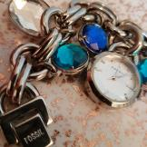 Rare Fossil watch charm bracelet in tin