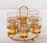 Gold shot glass set with metal wire caddy
