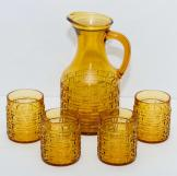 Amber glass jug & 4 tumblers set