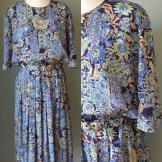 Floral print 1980s vintage dress by Fulton