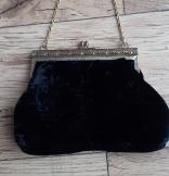 Vintage black velvet evening bag 1950s-60s