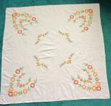 White Linen Floral Embroidered Tablecloth 49x 51