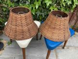 Mid Century Woven Wicker Rattan Light Shades