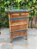Vintage French Rattan and Weave Laundry Basket