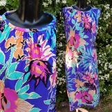 1970s Tropical Bright Linda Leigh Dress Size 14ze