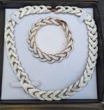 Fab 1980s White Enamel Necklace and Bracelet Set