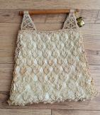70s macrame string bag with wooden handles