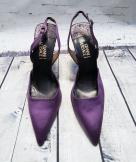 Vintage Versace Purple Satin Heels UK 6.5 EUR 39.5