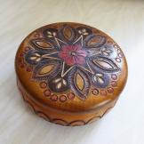 Hand Carved and Painted Round Wooden Trinket Box