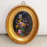 Vintage Miniature Oil Painting Flowers in a Vase