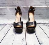 1970s Black Platform Heel Sandals UK 5/Eur 38