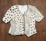 1980s John Charles White & Gold Sequin Top Size 16