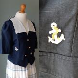 Vintage sailor style cropped Jacket/blouse 1980s