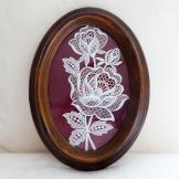 White Floral Lace from Bruges in Oval Frame