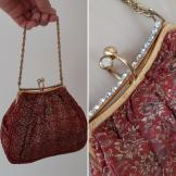 Vintage fabric evening purse by Bagcraft 1950s-60s