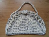Cream and grey beaded bag