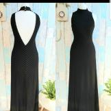 Black 1970s Evening Dress. Size 12.