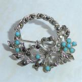 Vintage Brooch Marcasite Garland with Bow
