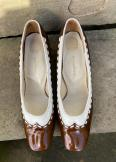 1960s brown and white gold cross shoes