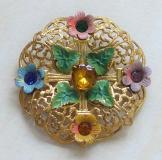 Czech Vintage Brooch Filigree and Flowers