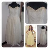 Vintage 1950s Cream Lace Tea Length Wedding Dress