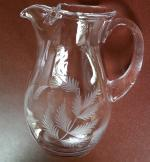 Beautiful Etched Crystal Glass Jug